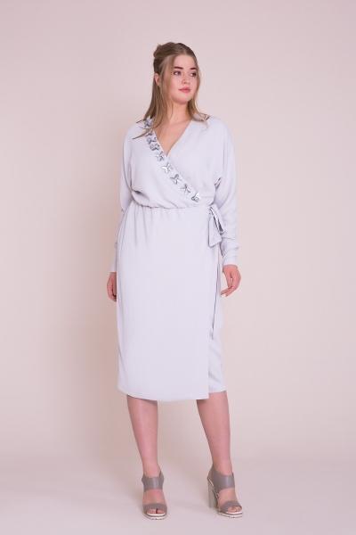 GIZIA - Kruvaze Yaka Lila Midi Elbise