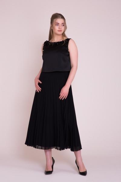 GIZIA - Siyah Piliseli Midi Elbise
