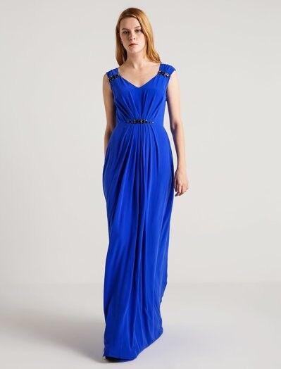 Taş Detaylı Saks Mavi Uzun Elbise