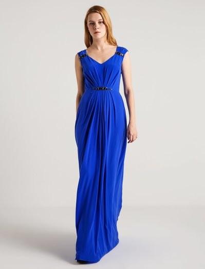 GIZIA - Taş Detaylı Saks Mavi Uzun Elbise