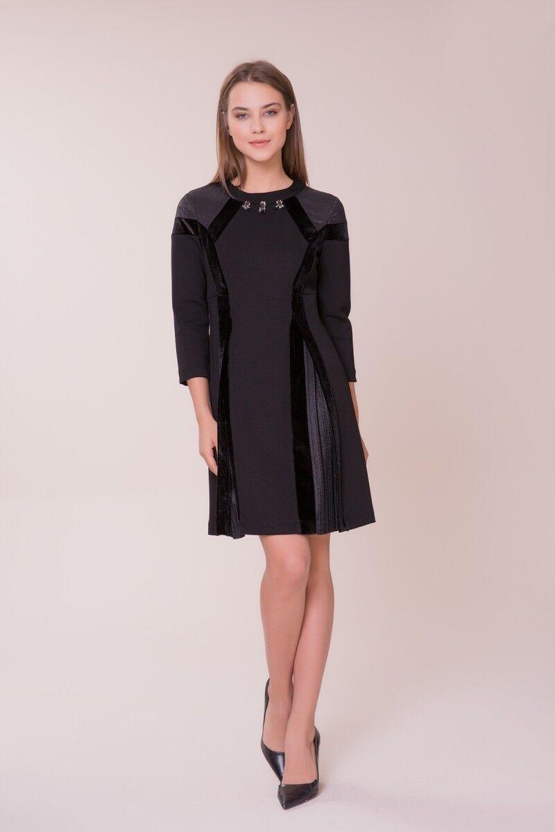 GIZIA - Pilise Detaylı Siyah Elbise
