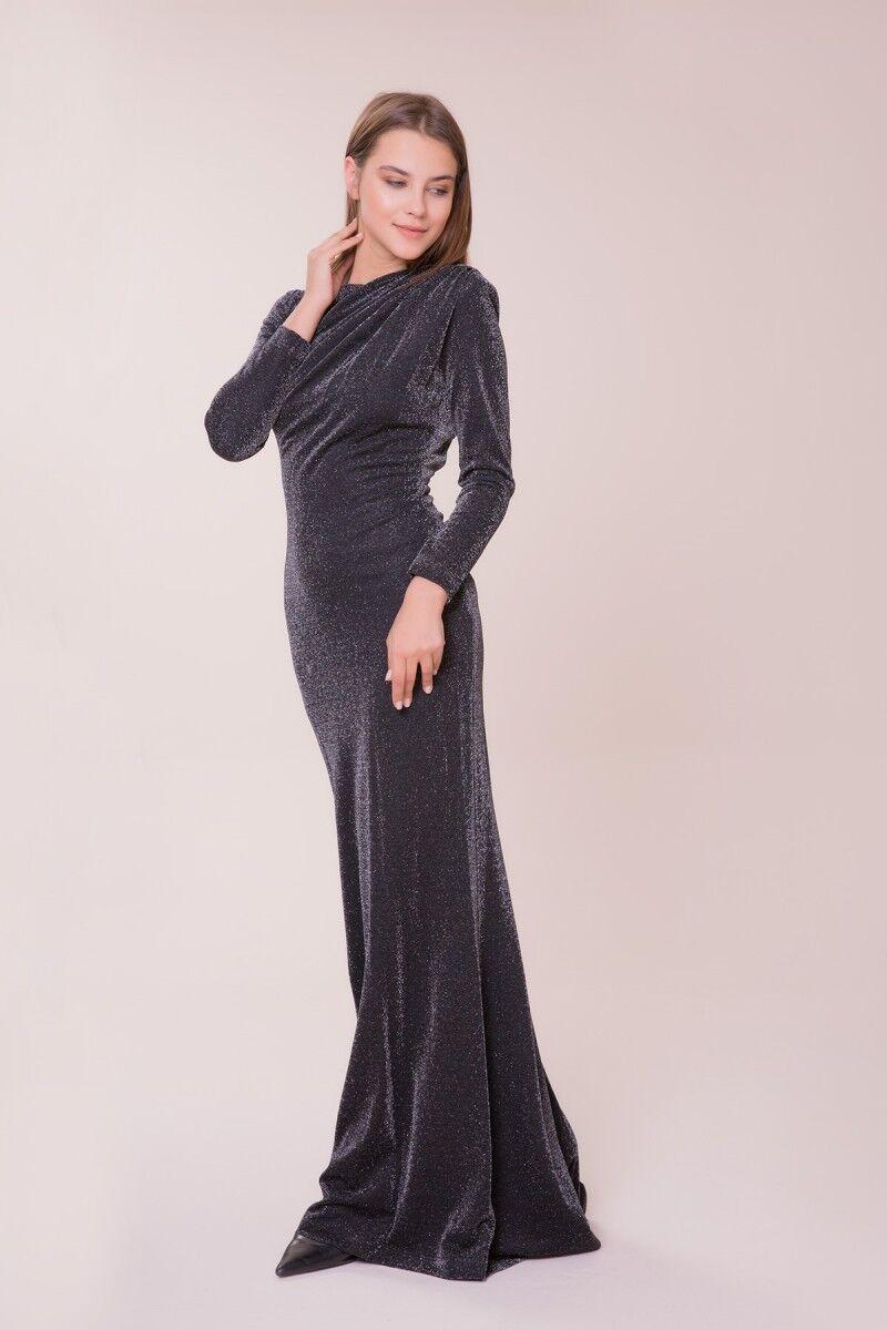Sırt Detaylı Siyah Uzun Elbise