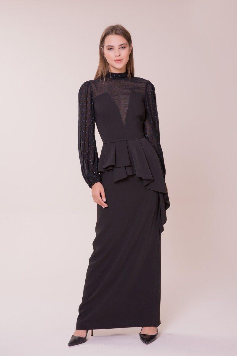 GIZIA - Tül Detaylı Siyah Elbise