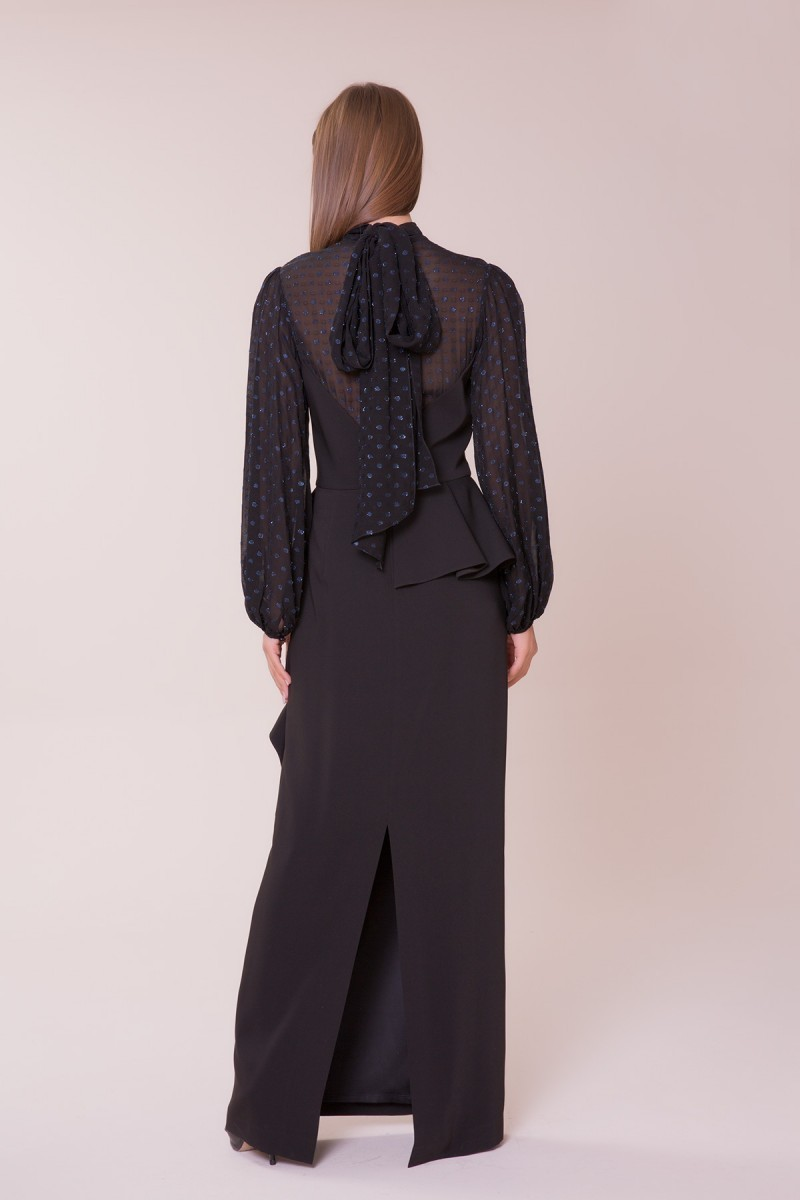 Tül Detaylı Siyah Elbise