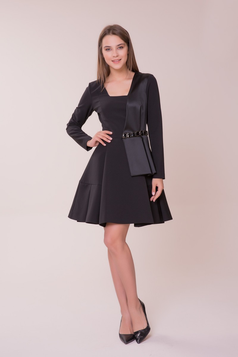 GIZIA - Taş Detaylı Siyah Mini Elbise