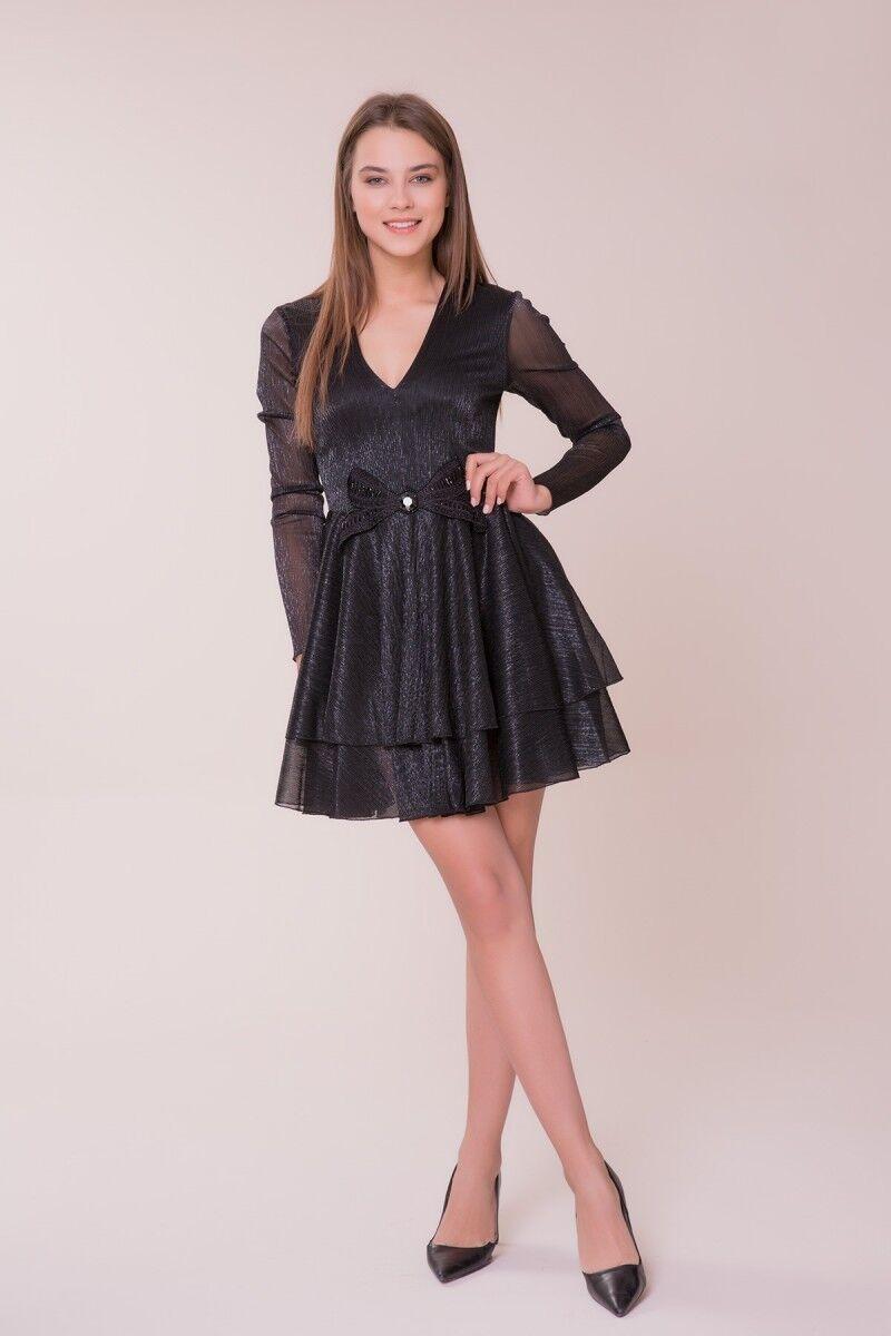 Fiyonk Detaylı Siyah Mini Elbise