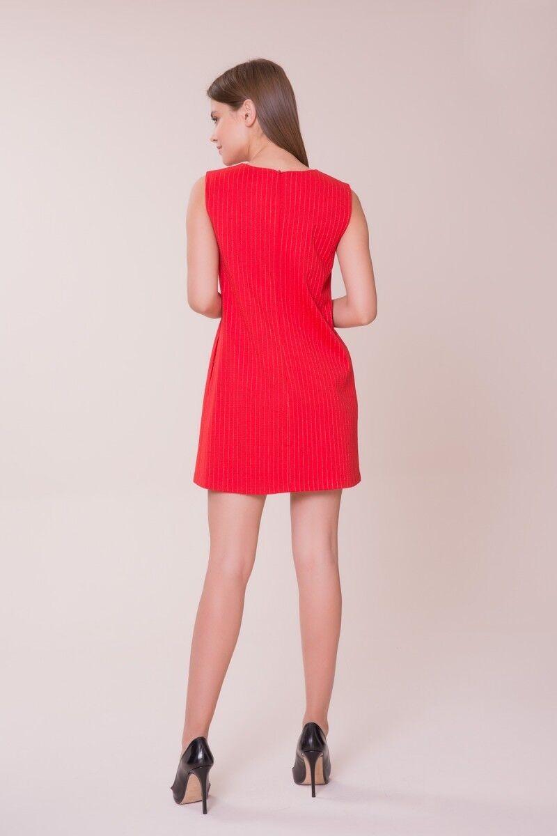Şerit Detaylı Kırmızı Mini Elbise