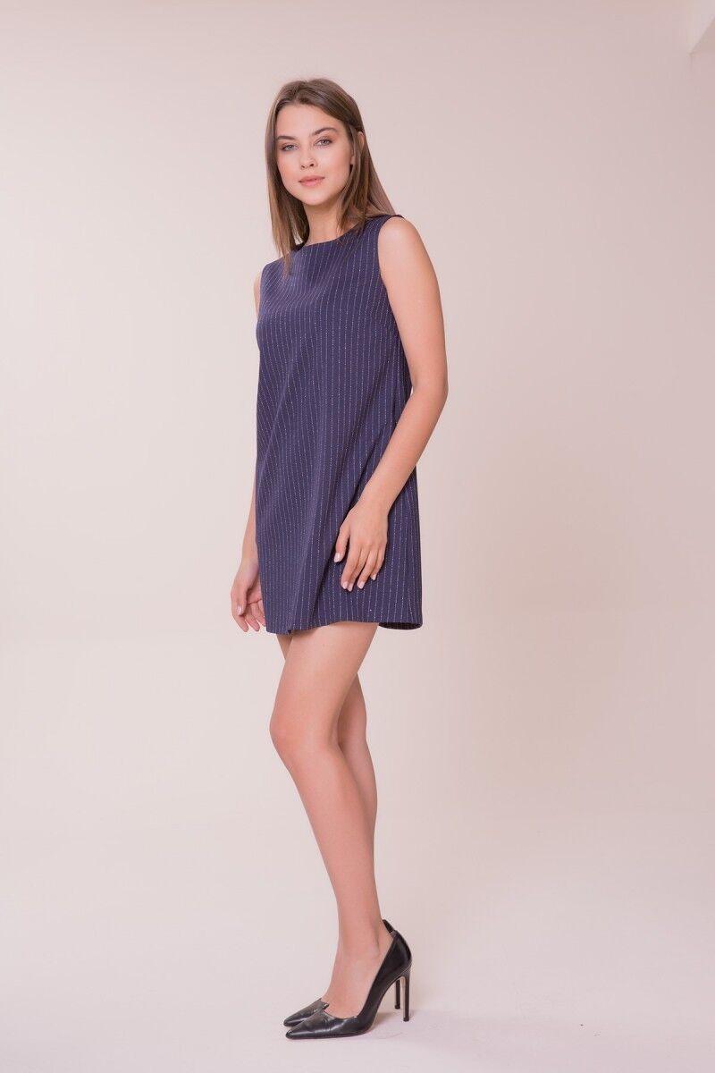 Çizgi Detaylı Mini Elbise