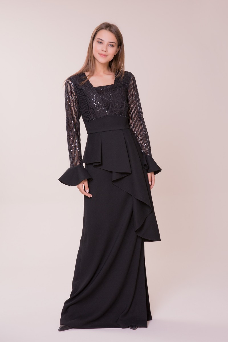 GIZIA - İşlemeli Siyah Uzun Elbise