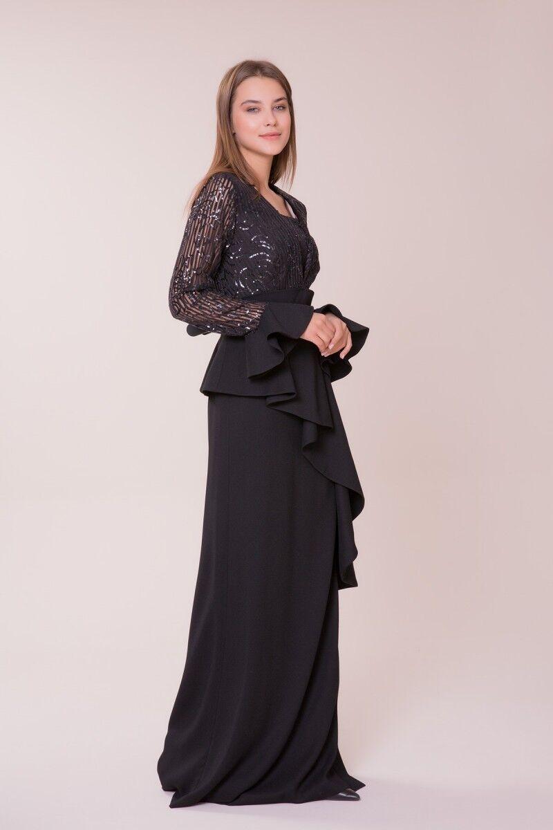 İşlemeli Siyah Uzun Elbise