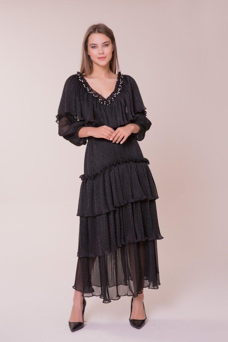 GIZIA - V Yaka Taş Detaylı Elbise