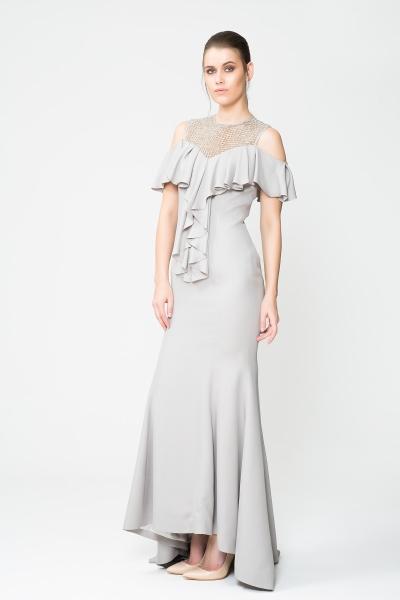 GIZIA - Fırfır Detaylı Şık Davet Elbisesi