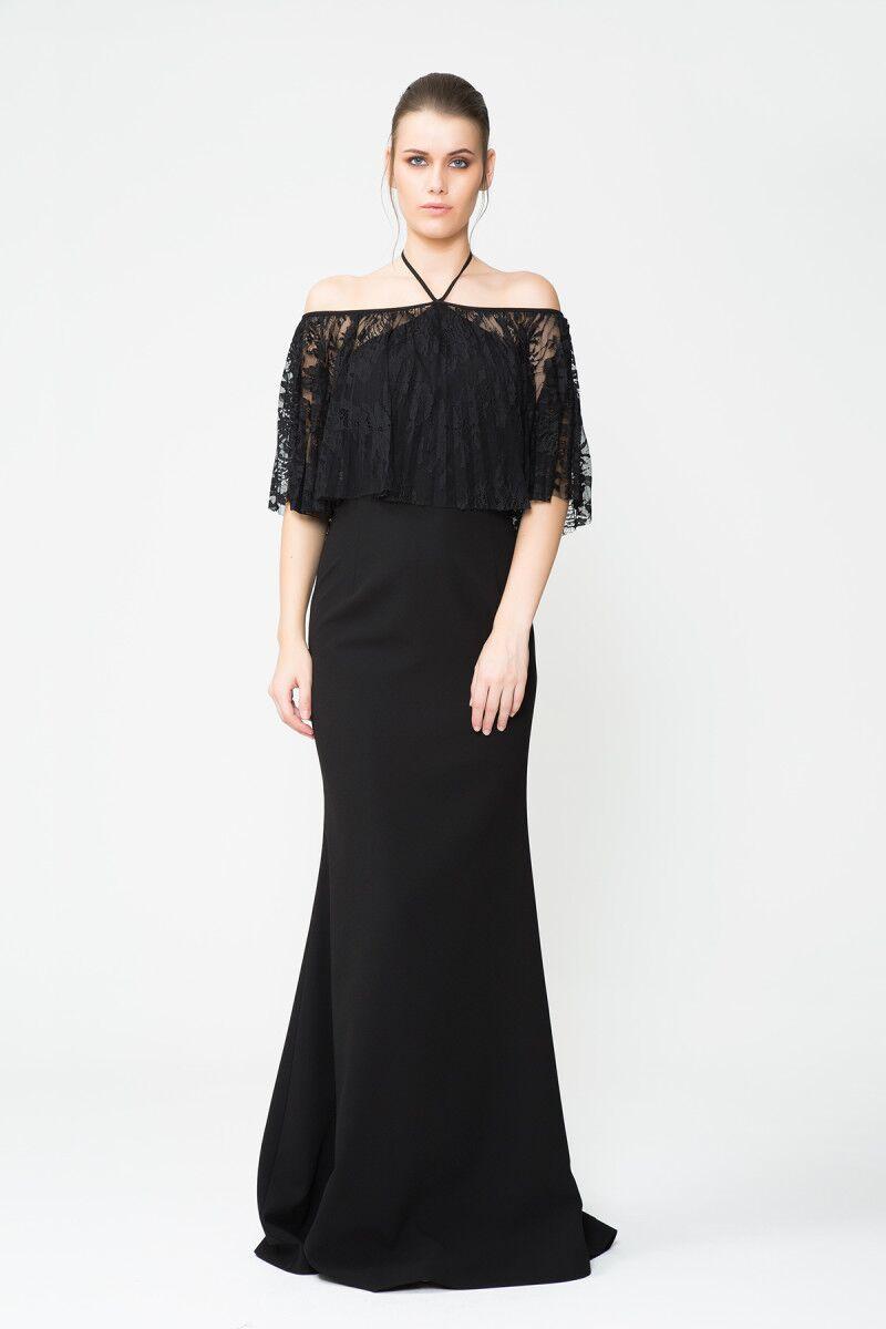 GIZIA - Boyundan Bağlamalı Tül Detaylı Uzun Siyah Davet Elbisesi