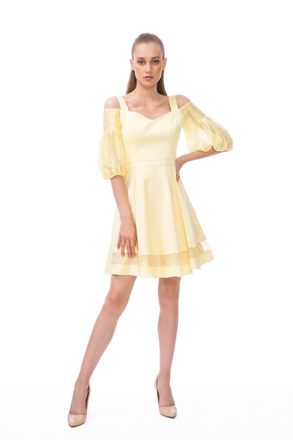 Açık Sarı Mini Elbise