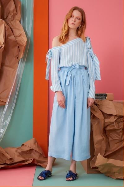 GIZIA CASUAL - Kuşak Detaylı Mavi Pantolon