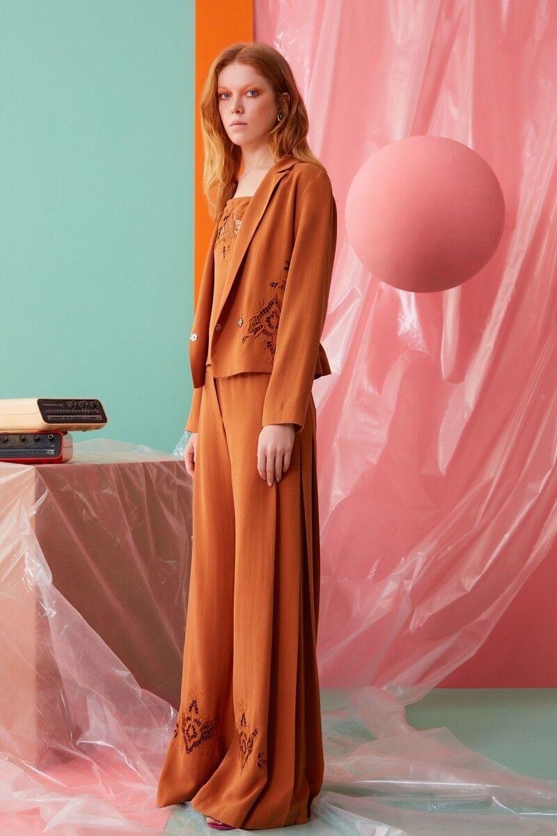 Güpür Detaylı Tarçın Rengi Pantolon