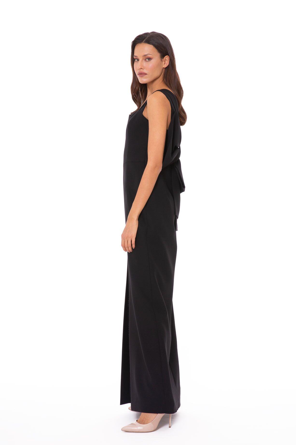 Arkası Fiyonk Detaylı Kalın Askılı Uzun Gece Elbisesi