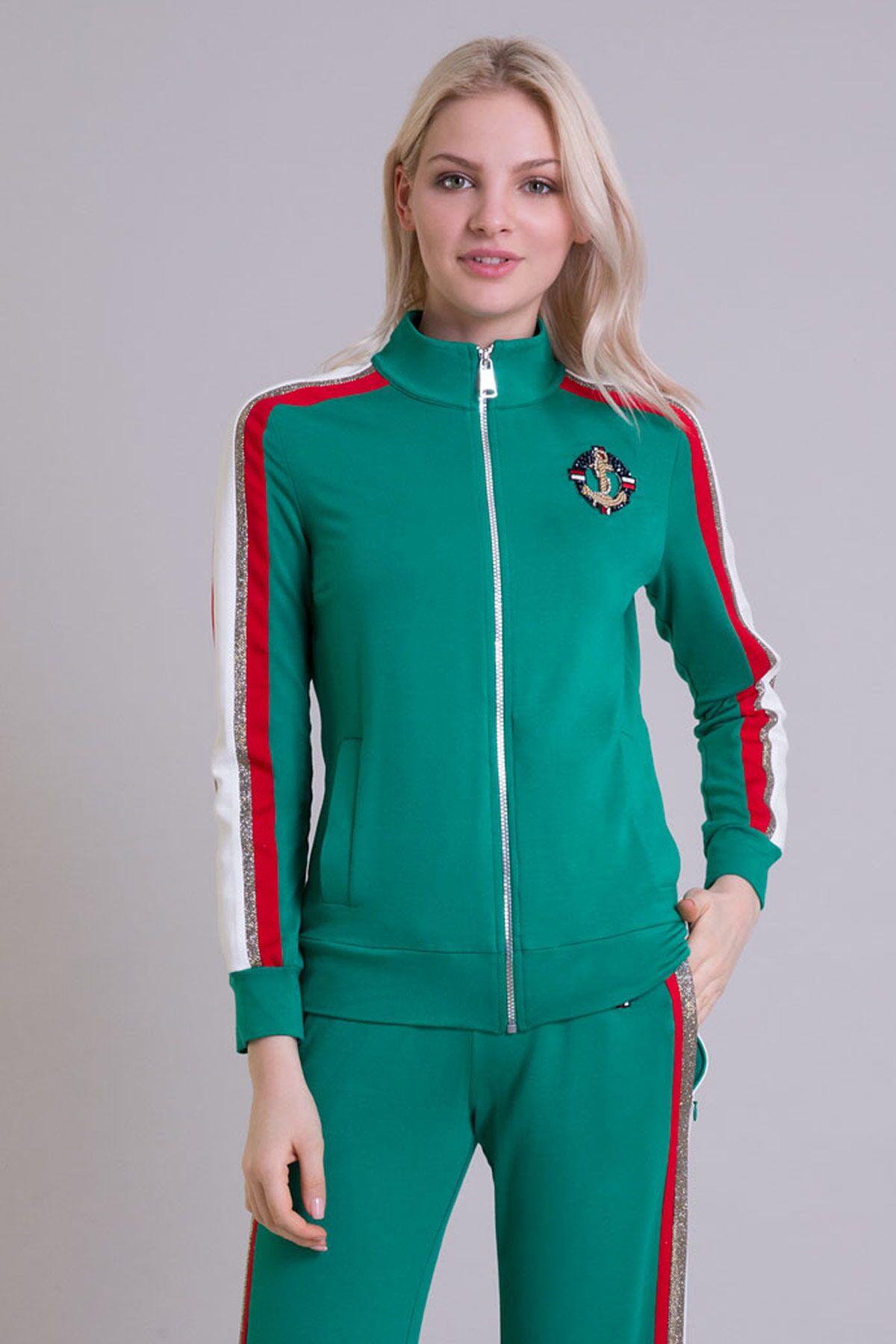 Arma Şerit Detaylı Fermuarlı Yeşil Sweatshirt