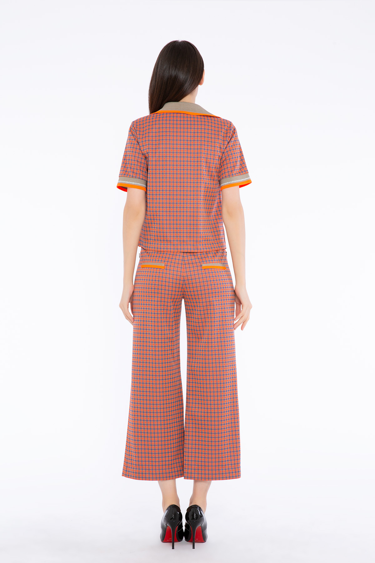 Arma Detailed Tricot Band Knitted Orange Crop Blouse