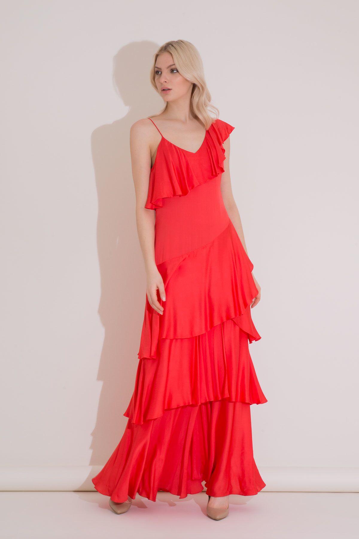 Asimetrik Kesim Fırfırlı Mercan Rengi Uzun Elbise