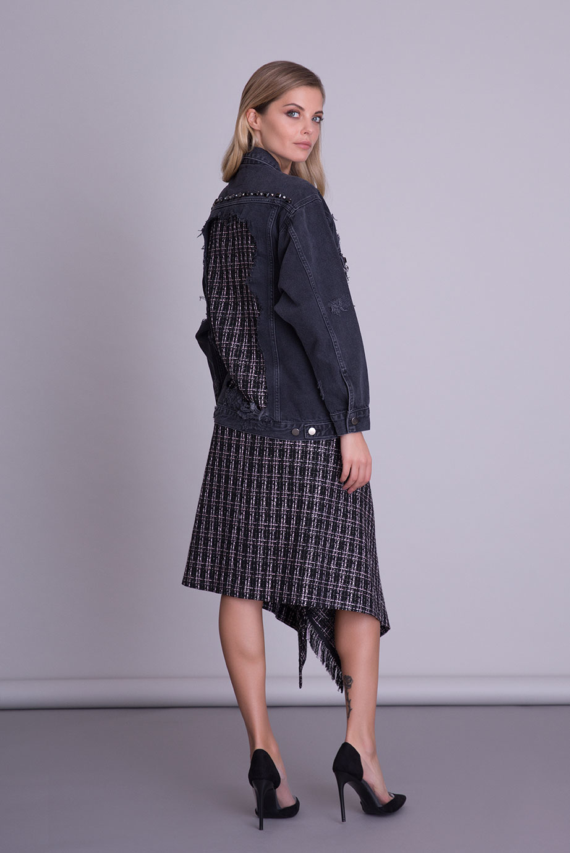Asimetrik Kesim Tweed Siyah Kumaş Etek