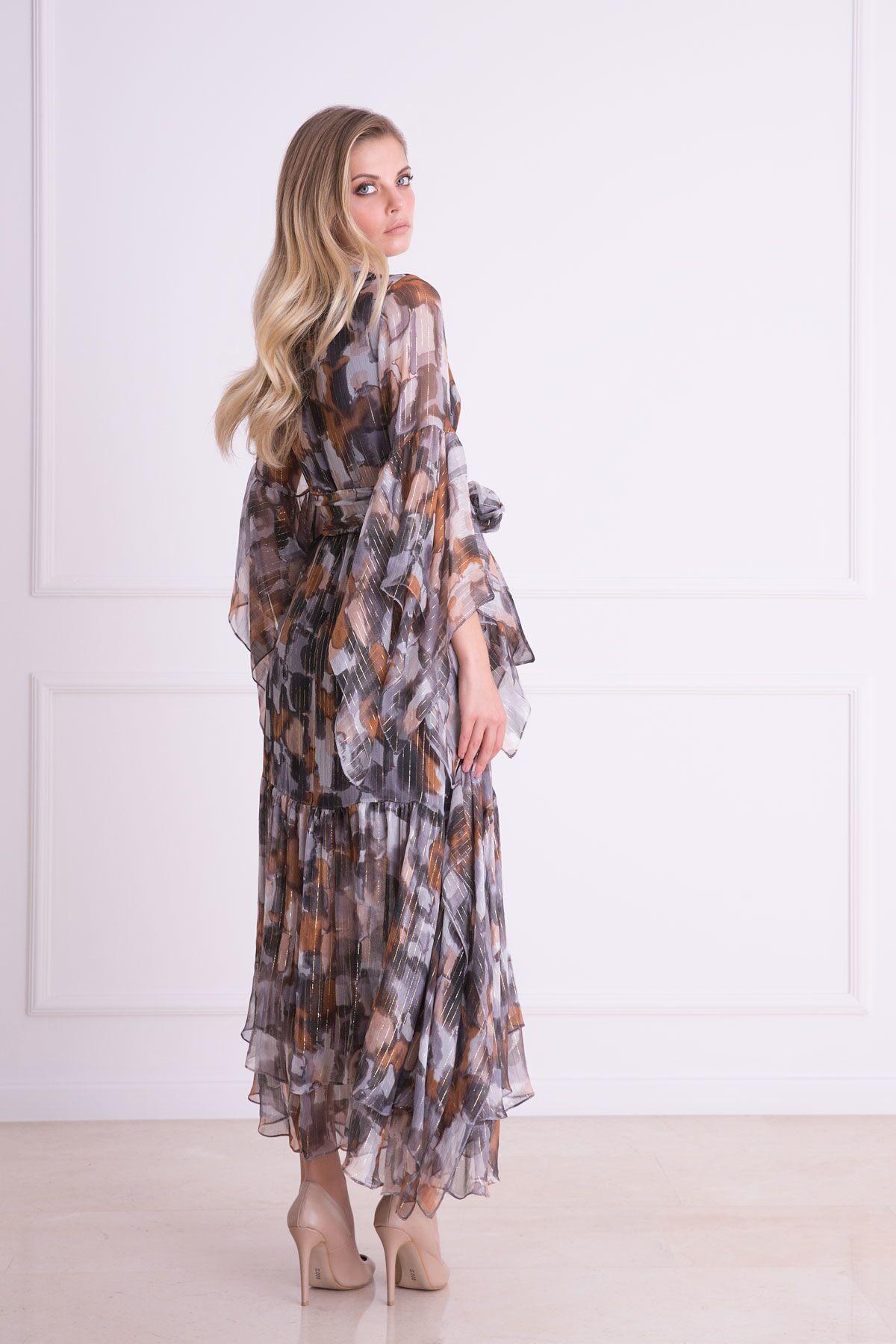 Asimetrik Kesim V Yaka İpekli Kumaş Uzun Elbise