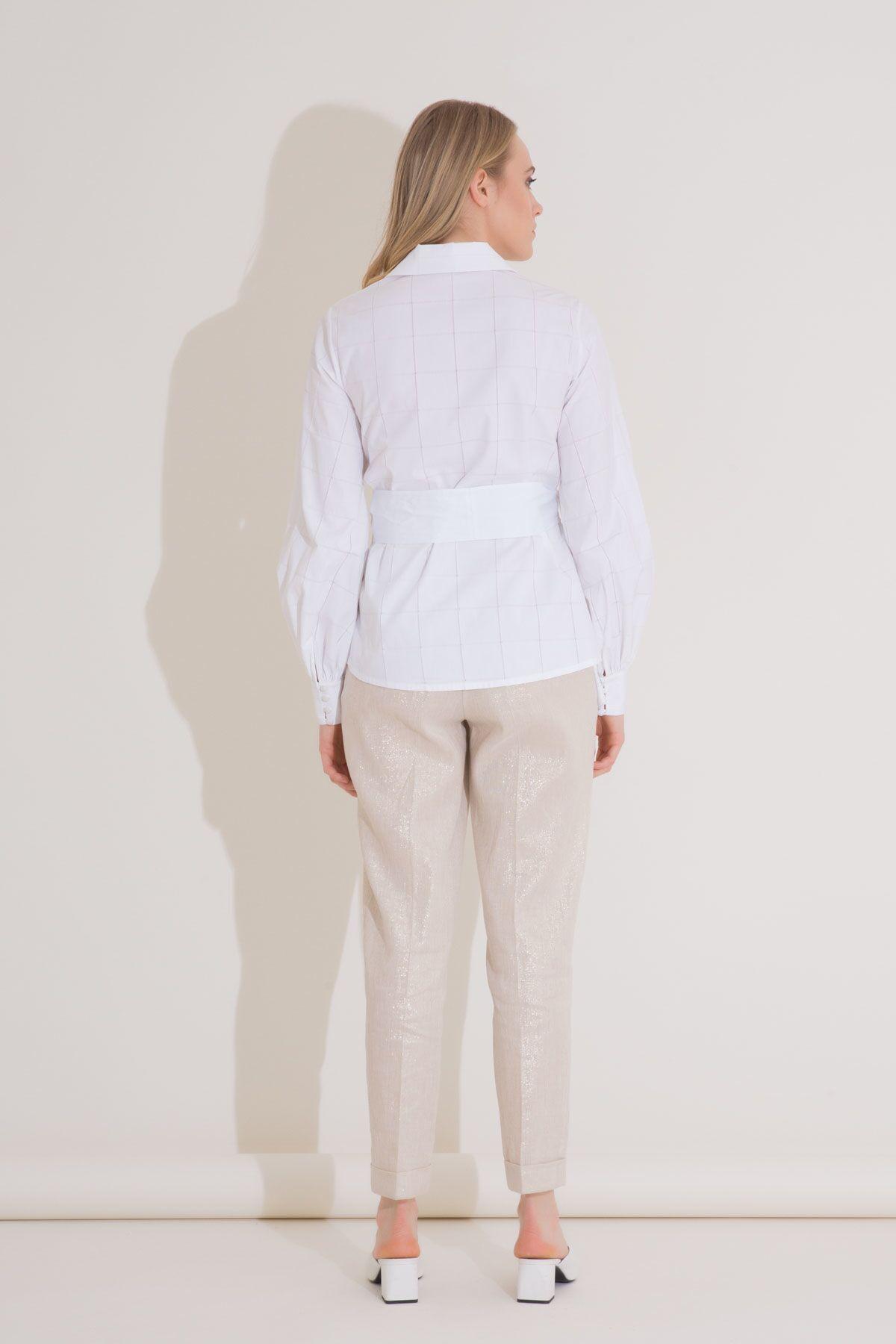 Asymmetric Cut Embroidered White Shirt
