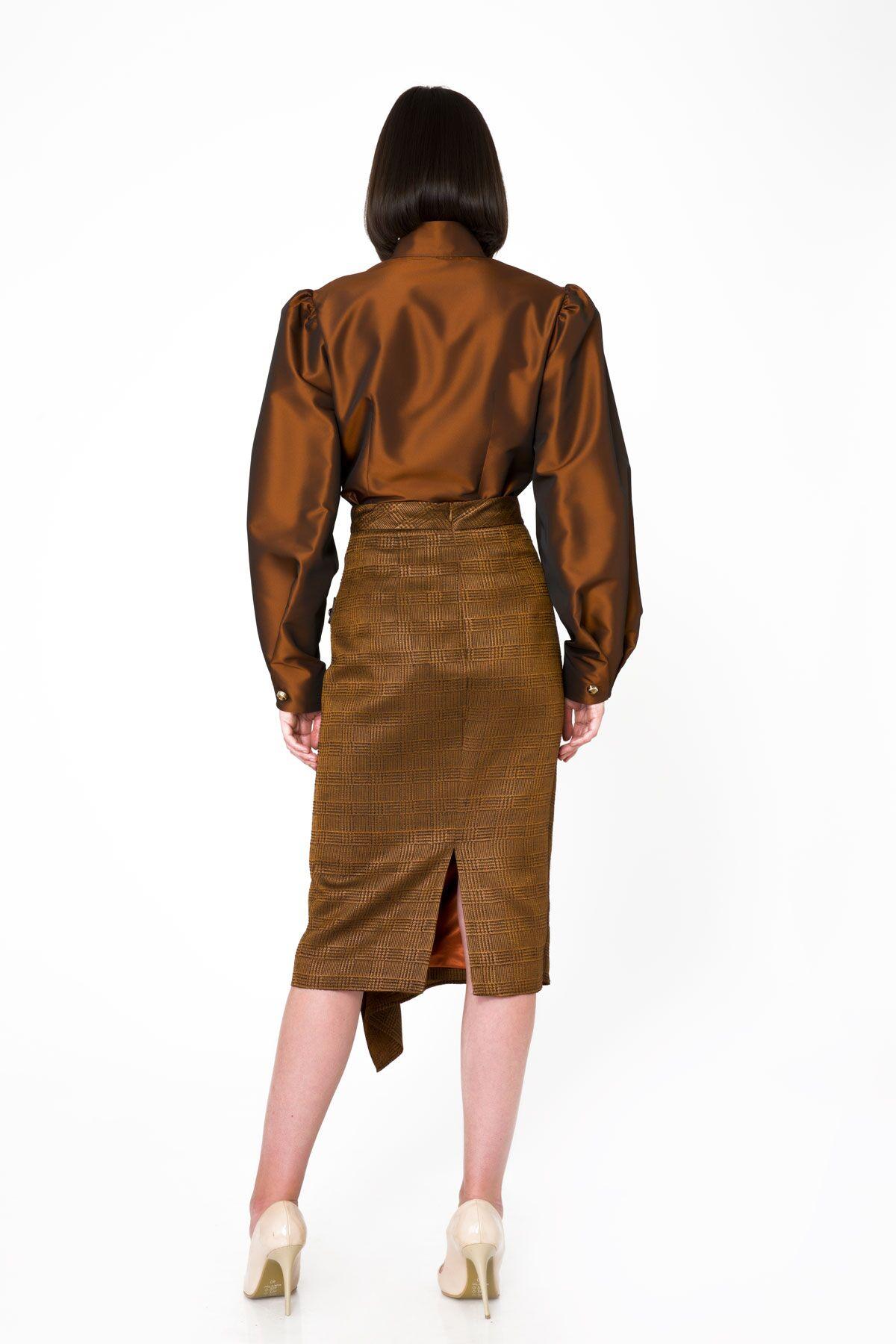 Asymmetric Cut Shiny Pencil Skirt With Buckle Detail