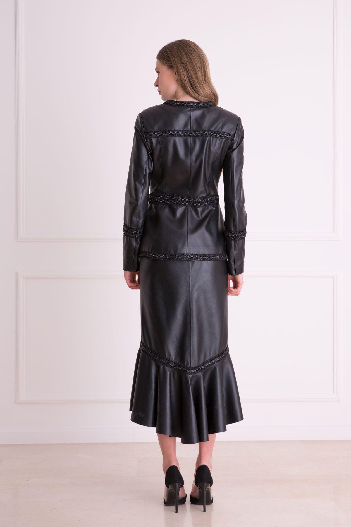Asymmetric Length Maxi Leather Skirt
