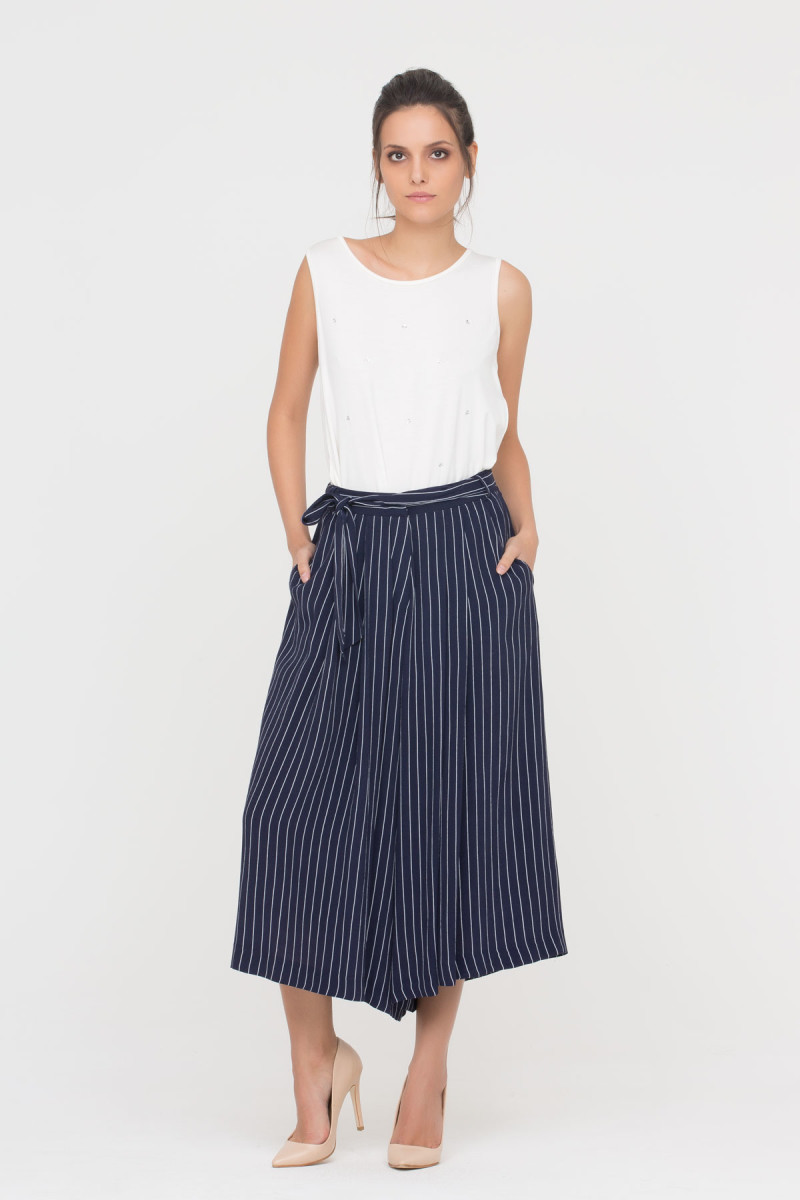 GIZIA CASUAL - Wide Leg Stripe Trousers