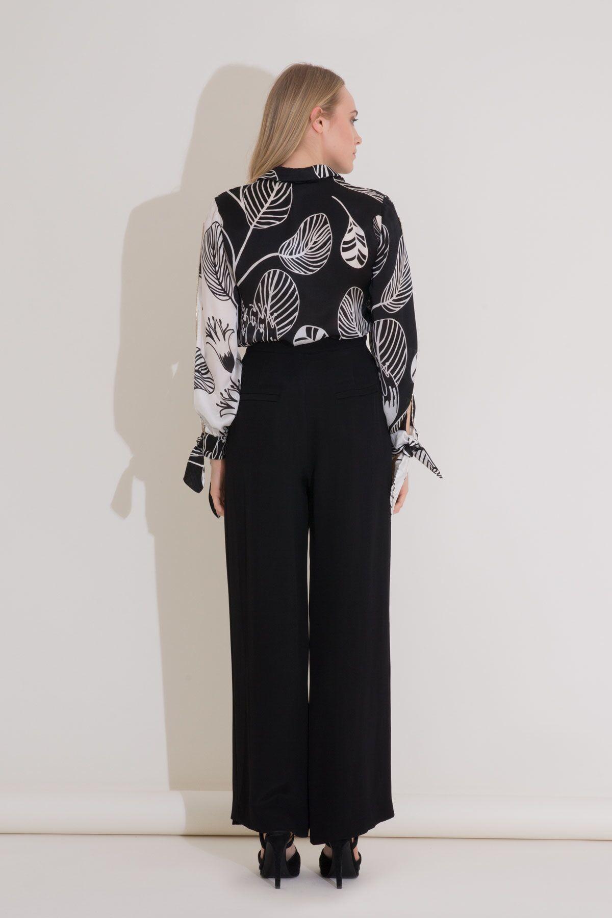 Bağlama Detaylı Desenli Siyah Beyaz İpekli Bluz