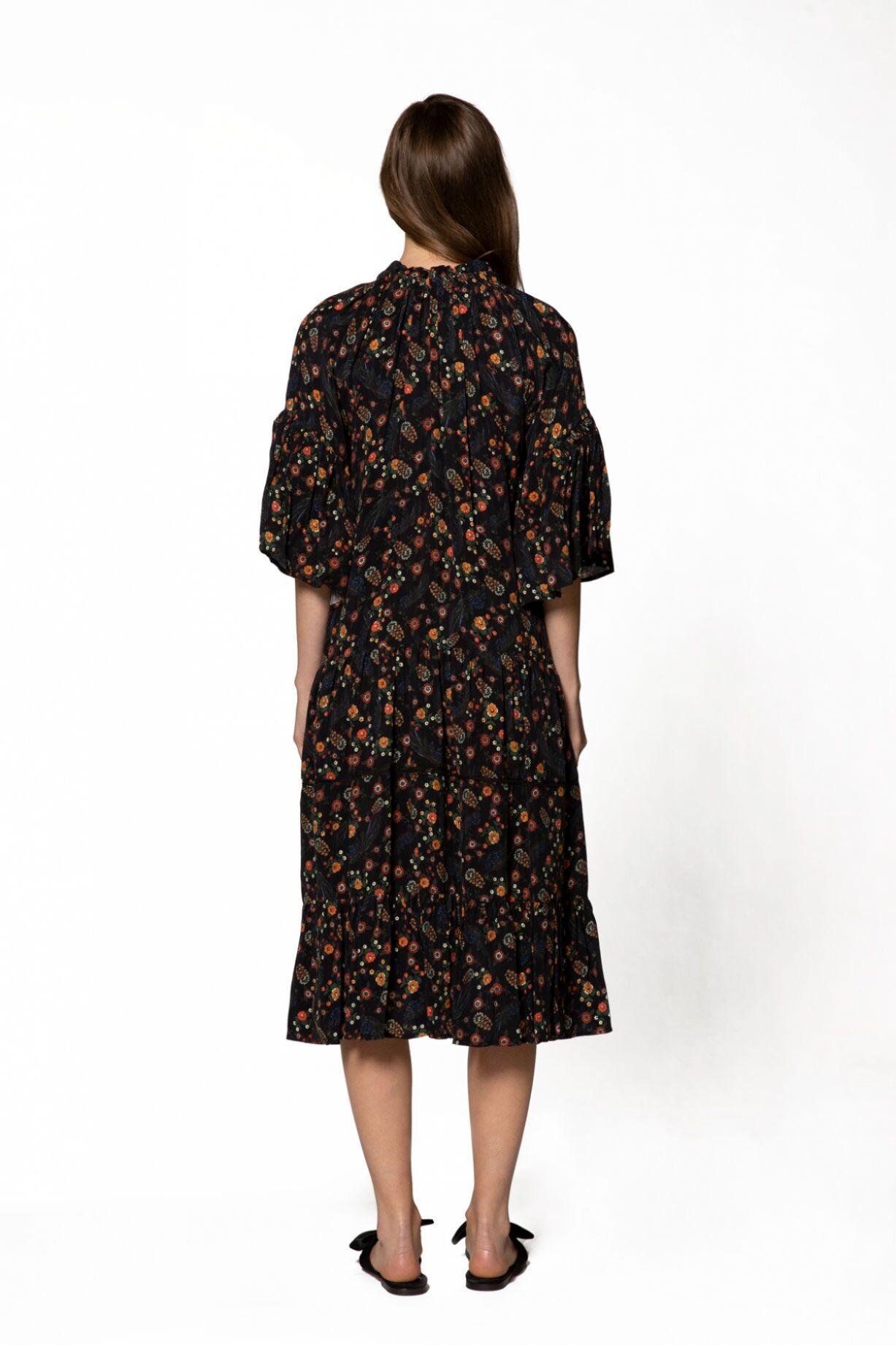 Bağlama Yaka, Desenli Midi Elbise