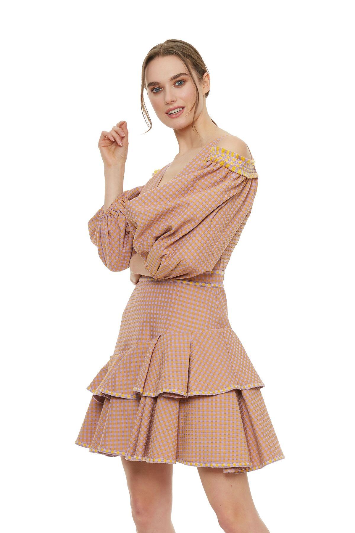 Balon Kol Mini Elbise