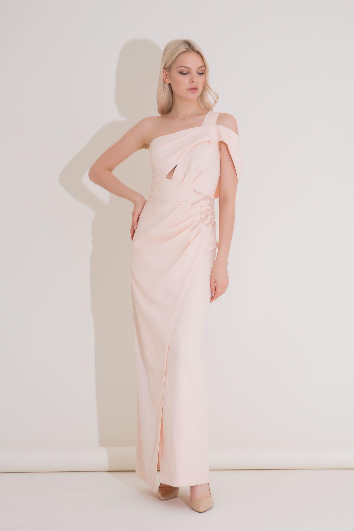 Bantlı Tek Omuz Somon Rengi Krep Abiye Elbise