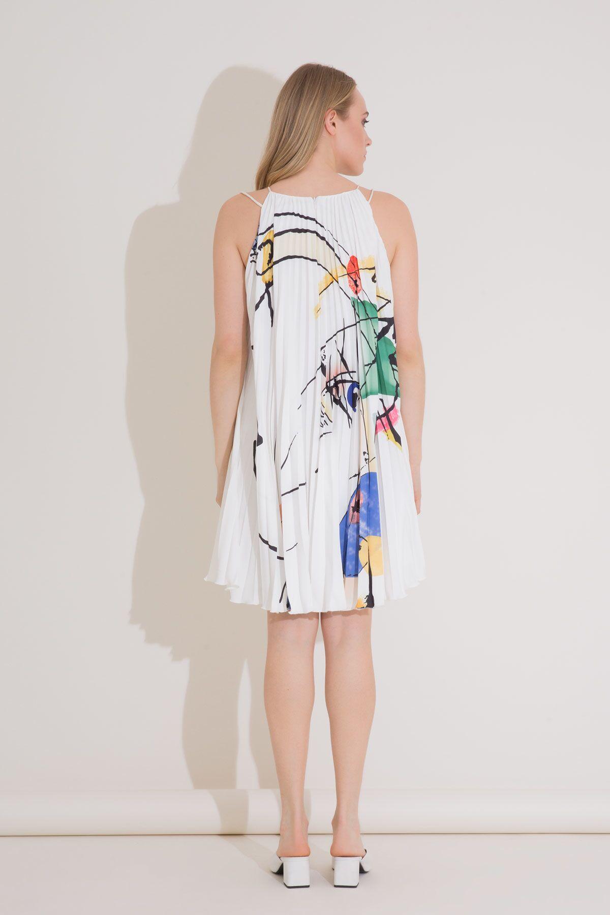 Baskı Detaylı Askılı Pilise Elbise Midi Boy
