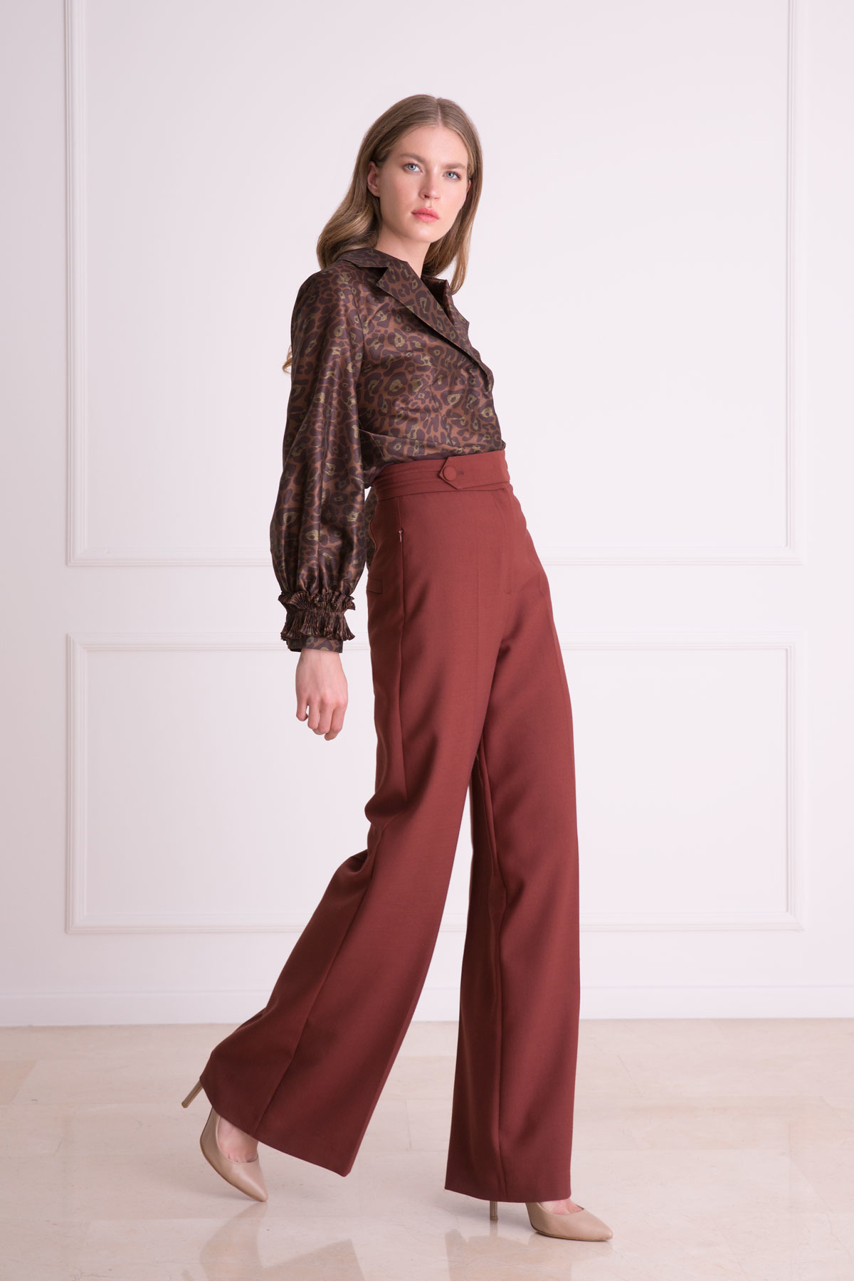 Bel Kemer Detaylı Kiremit Rengi Bol Paça Pantolon
