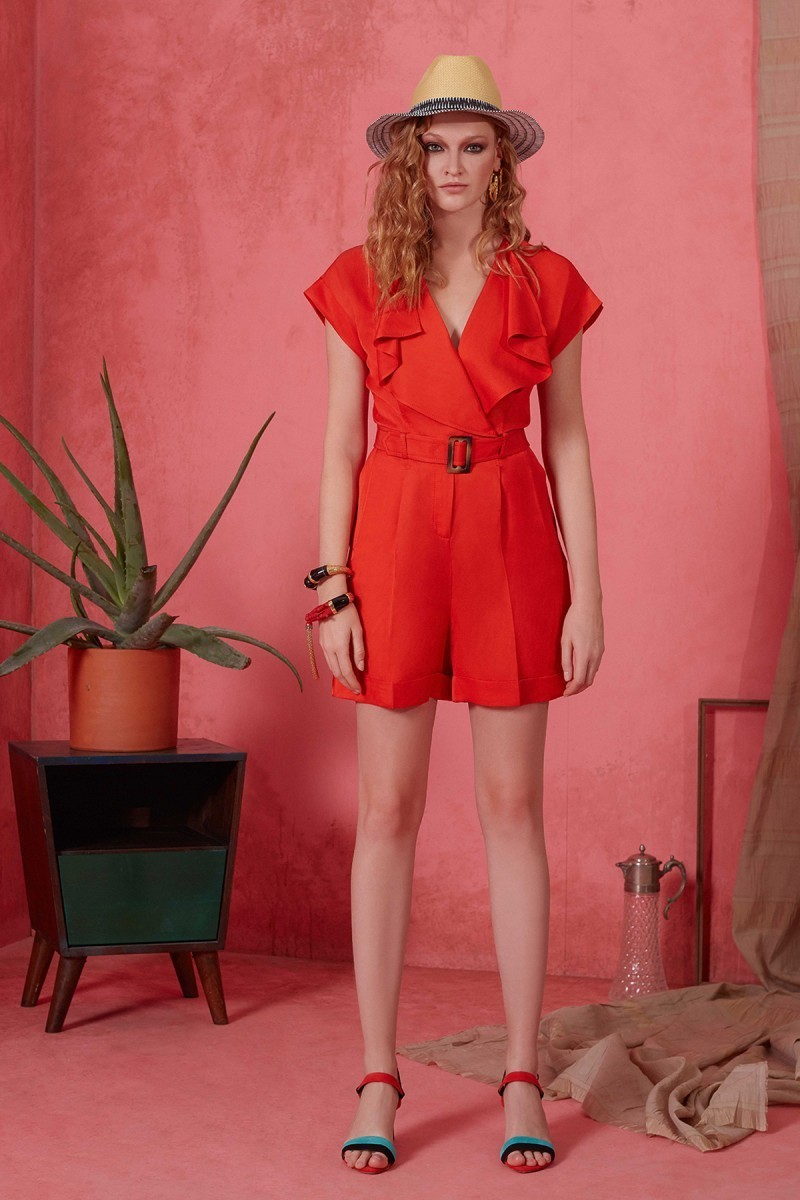 Belt and Collar Ruffle Detailed Coral Colored Short Overalls