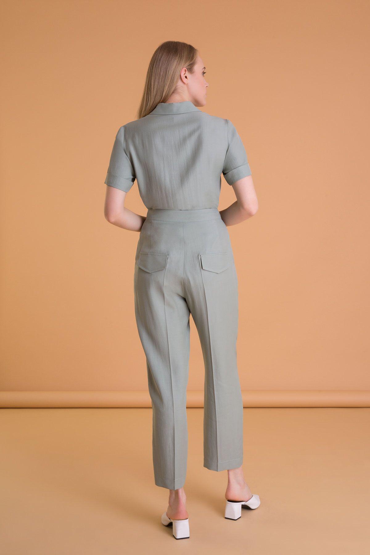 Belt Detailed Carrot Cut Green Pants