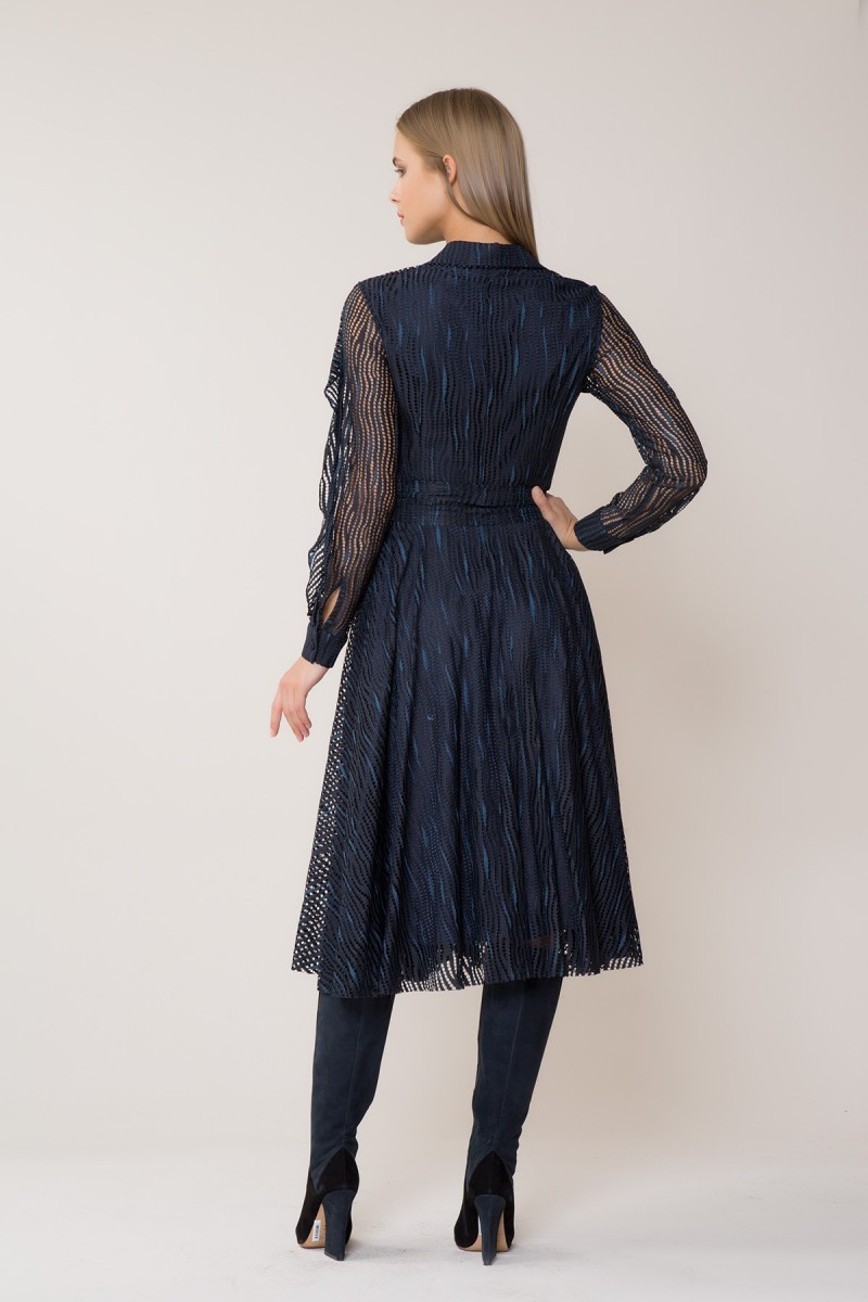 Belt Detailed Midi Navy Dress