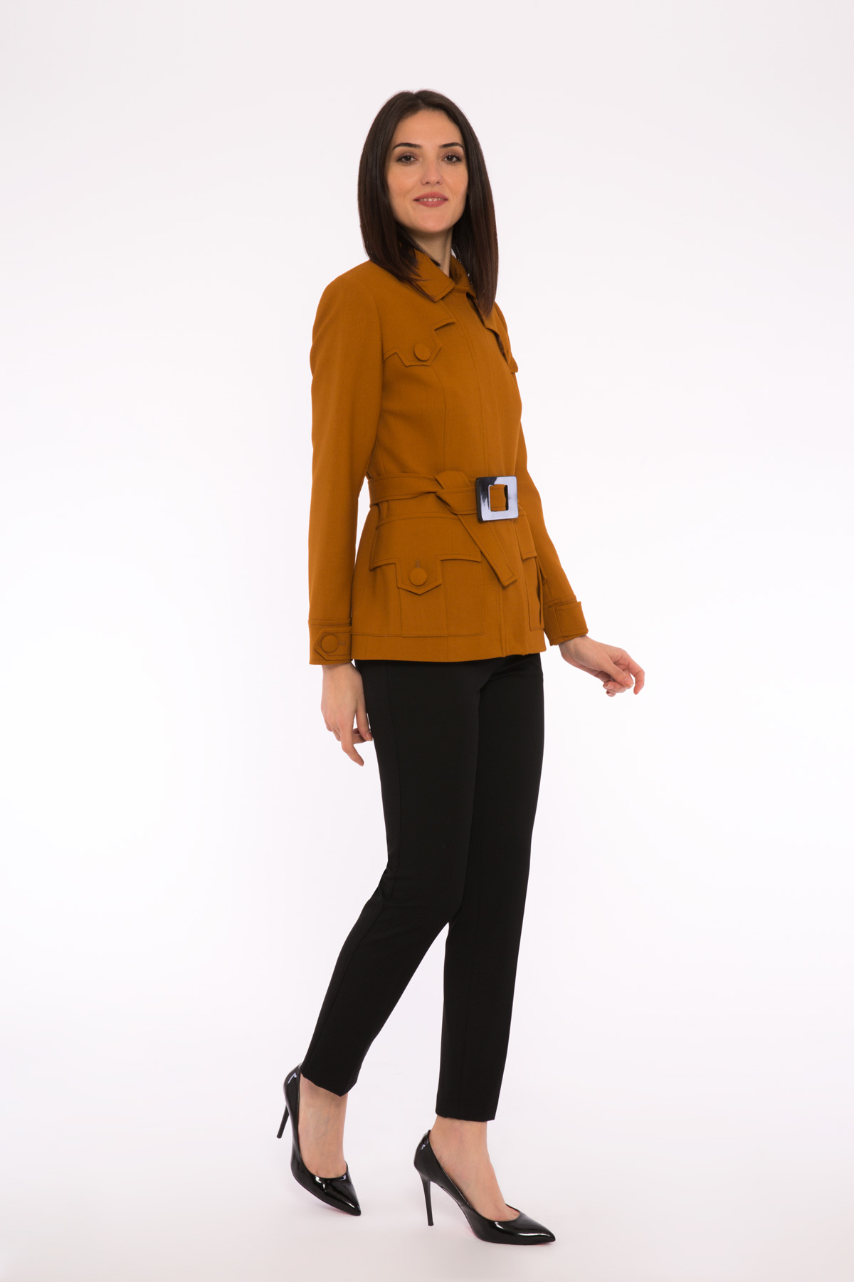 Belt Detailed Jacket With Pockets And Buttons