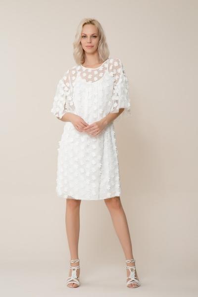 GIZIA CASUAL - Beyaz Çiçekli Tül Elbise
