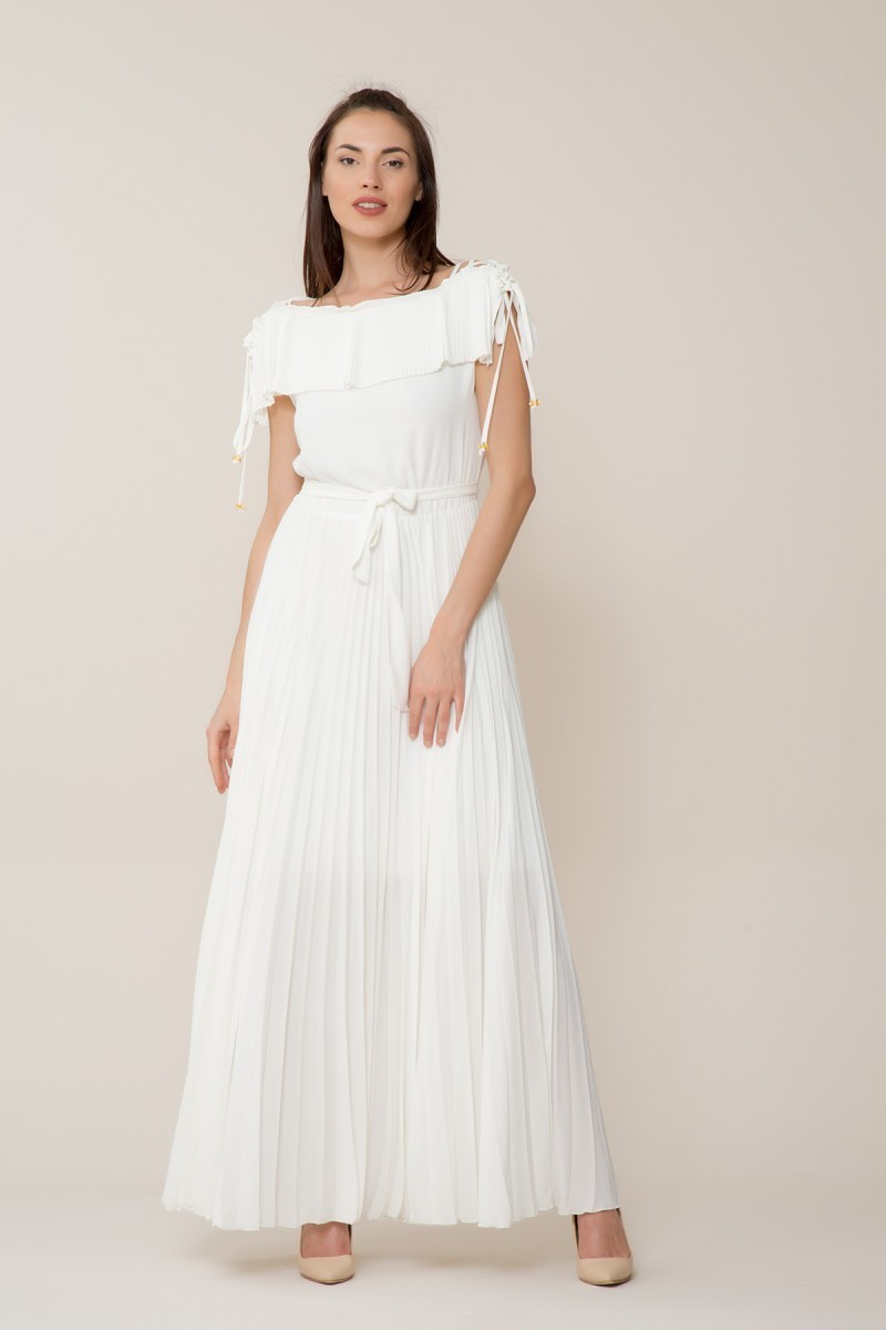 Beyaz Pilise Uzun Elbise