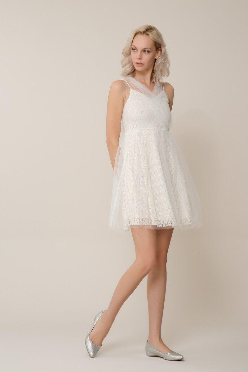 Beyaz Tül Mini Elbise