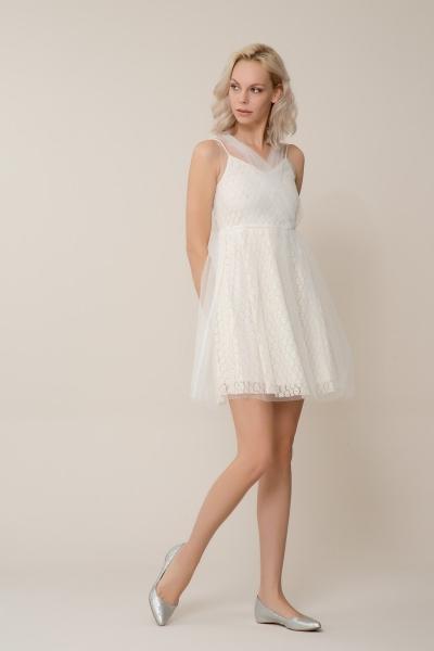 GIZIA CASUAL - Beyaz Tül Mini Elbise