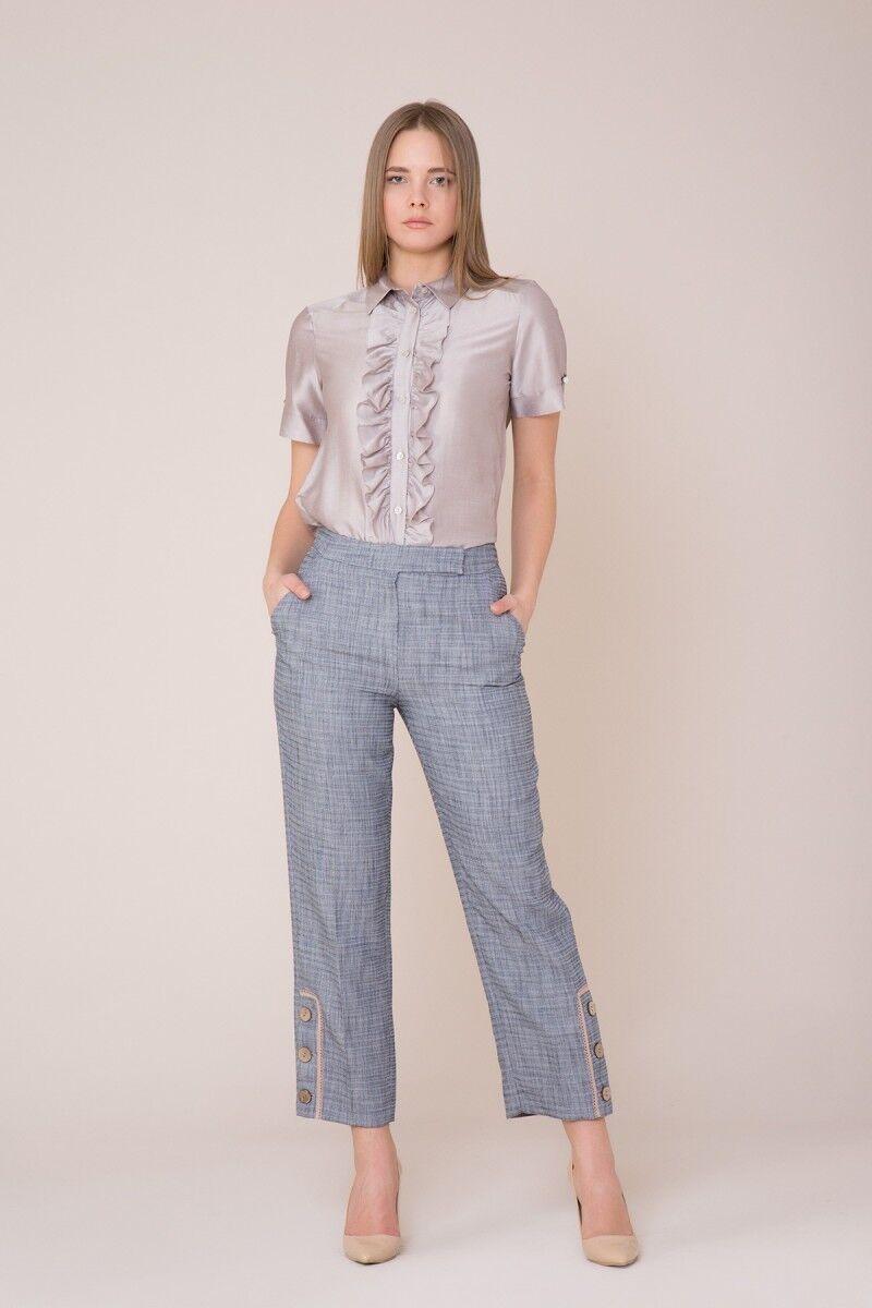 Bilek Düğme Detaylı Lacivert Pantolon