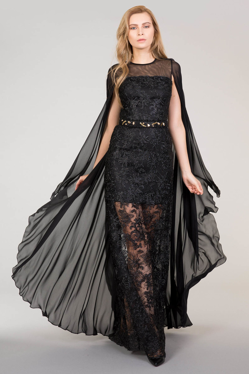 Black Lace Dress With Belt and Tulle Detail