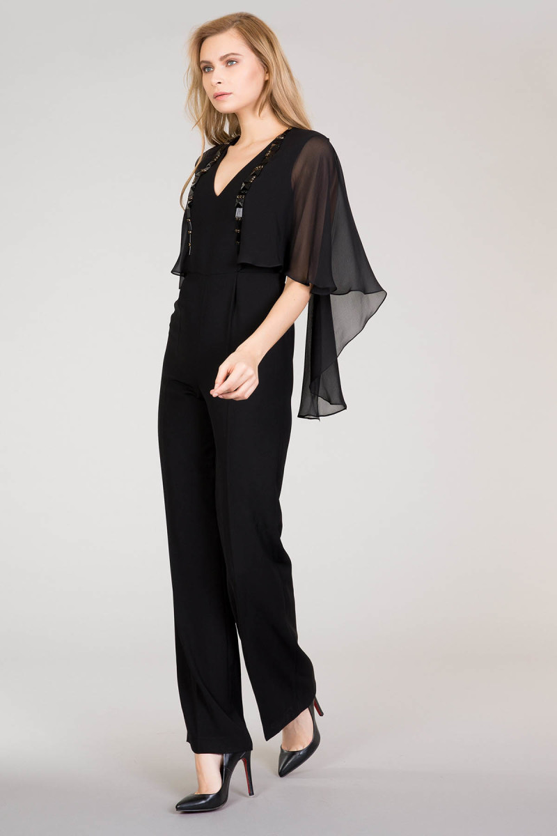 Black Overalls With Tulle Detail