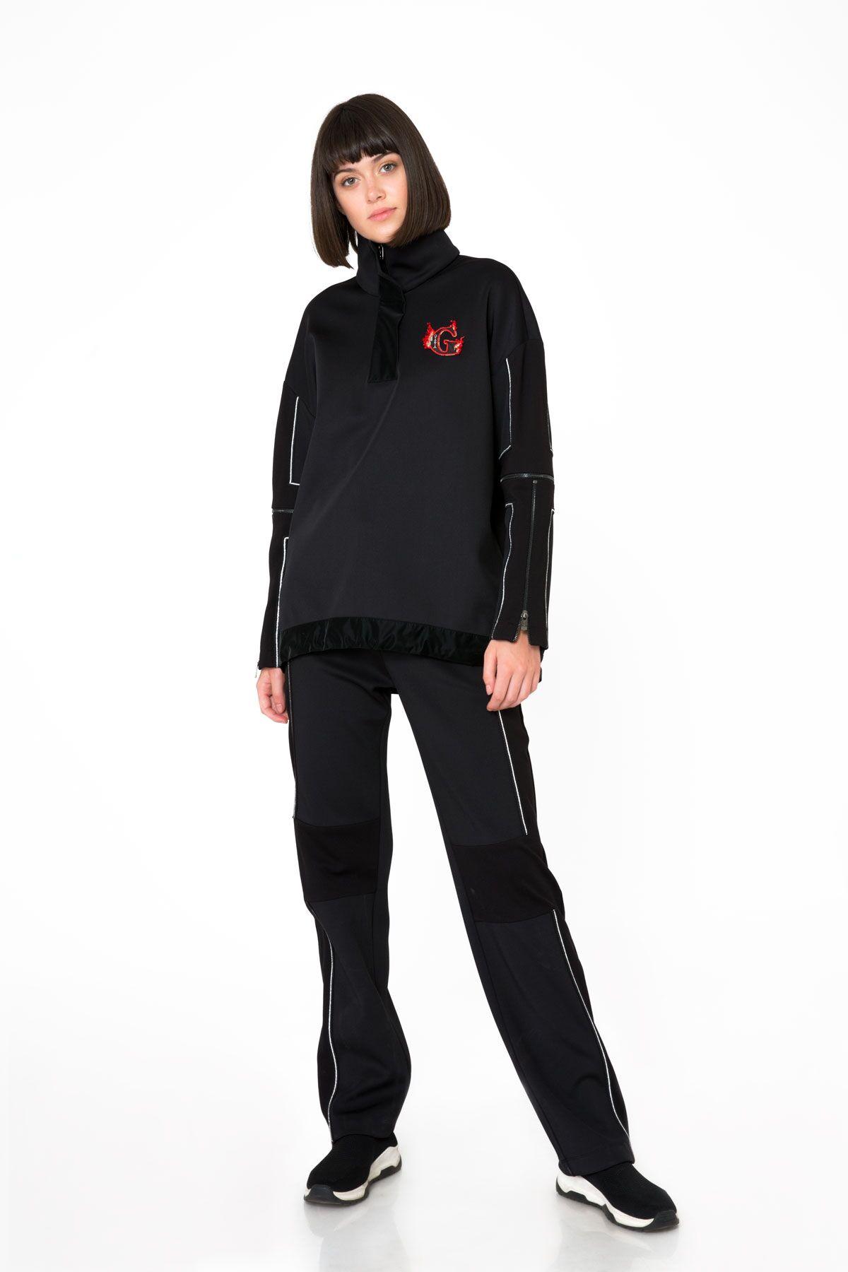 Black Sweatshirt with Collar and Sleeve Zipper Detail