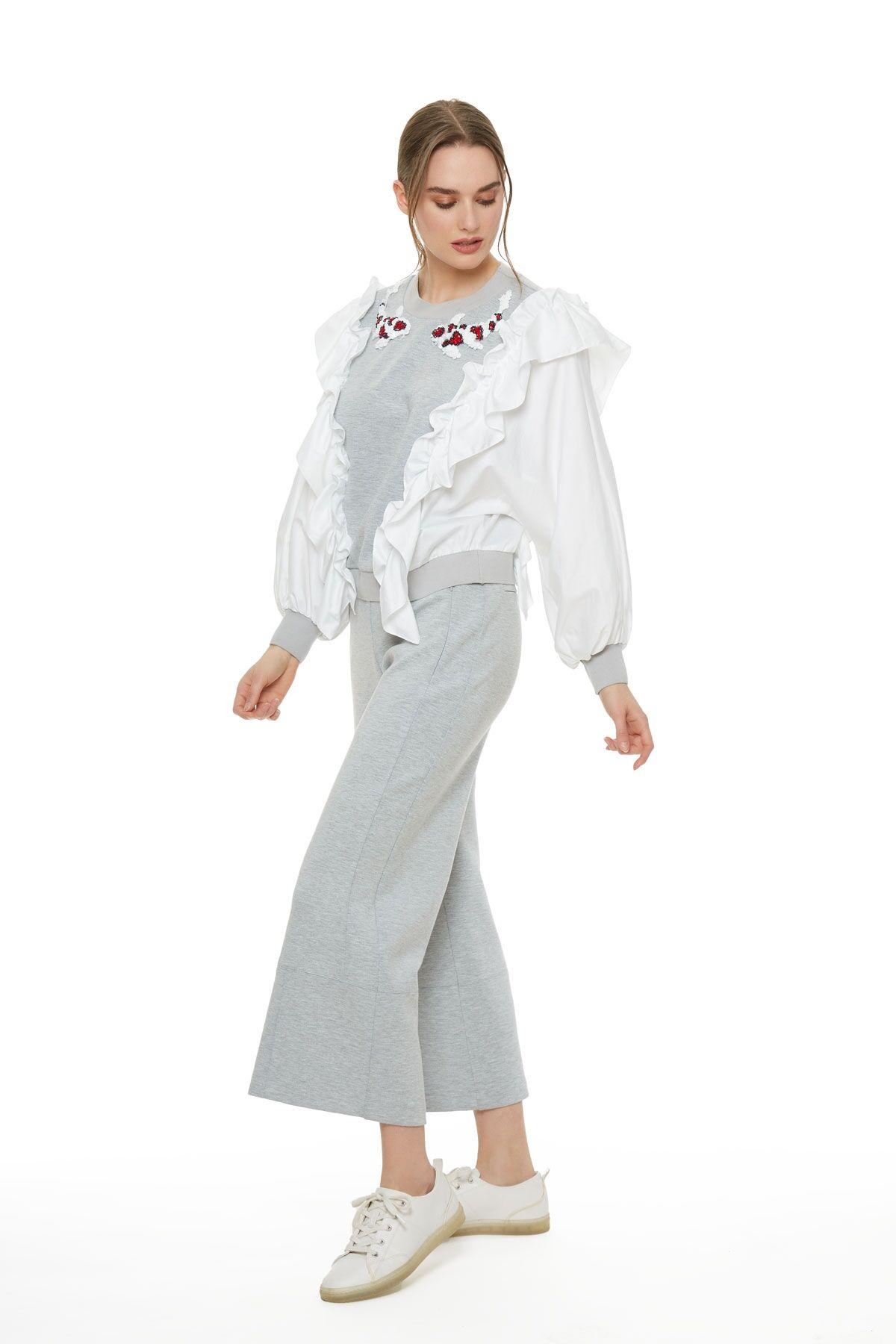 Bol Kesim Bilek Boy Eşofman Altı (Pantolon)