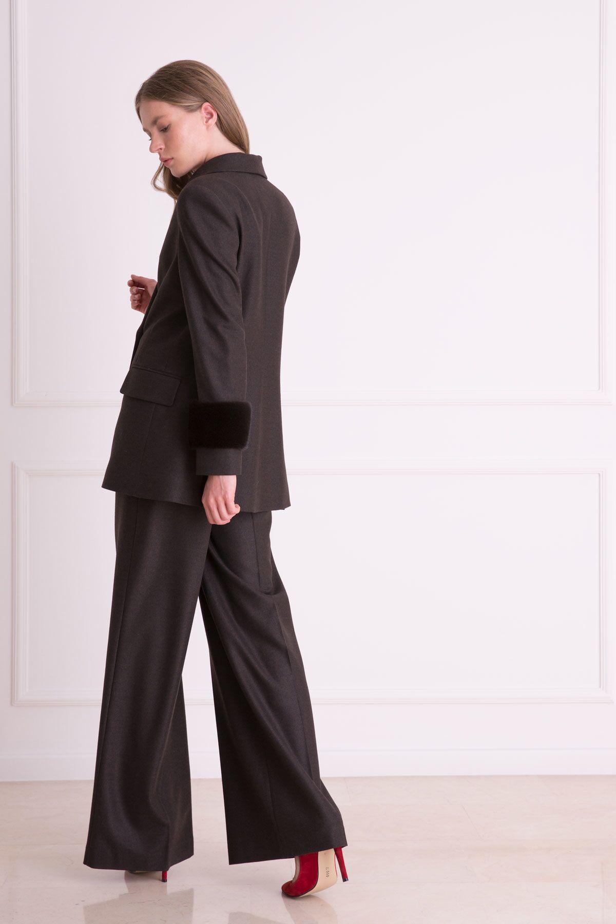 Bol Paça Kahverengi Kumaş Pantolon